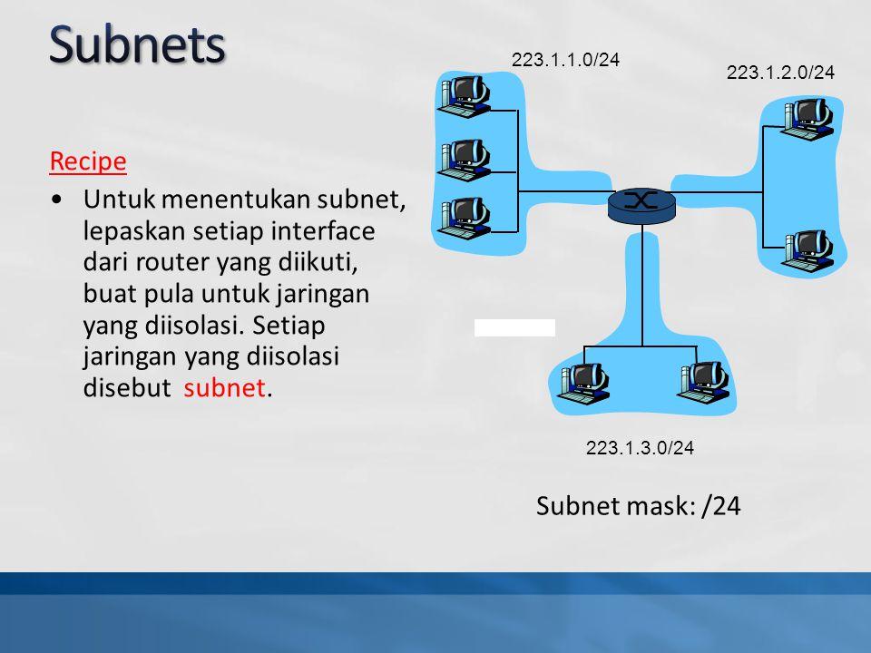 Recipe Untuk menentukan subnet, lepaskan setiap interface dari router yang diikuti, buat pula untuk jaringan yang diisolasi.