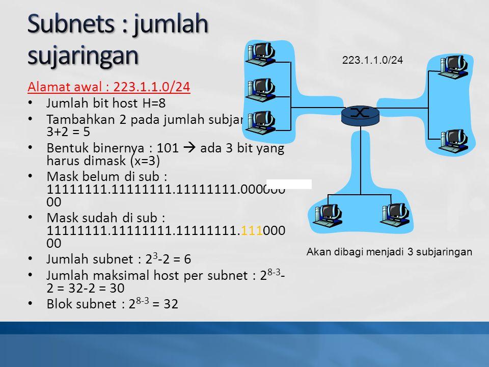 Alamat awal : 223.1.1.0/24 Jumlah bit host H=8 Tambahkan 2 pada jumlah subjaringan : 3+2 = 5 Bentuk binernya : 101  ada 3 bit yang harus dimask (x=3) Mask belum di sub : 11111111.11111111.11111111.000000 00 Mask sudah di sub : 11111111.11111111.11111111.111000 00 Jumlah subnet : 2 3 -2 = 6 Jumlah maksimal host per subnet : 2 8-3 - 2 = 32-2 = 30 Blok subnet : 2 8-3 = 32 223.1.1.0/24 Akan dibagi menjadi 3 subjaringan