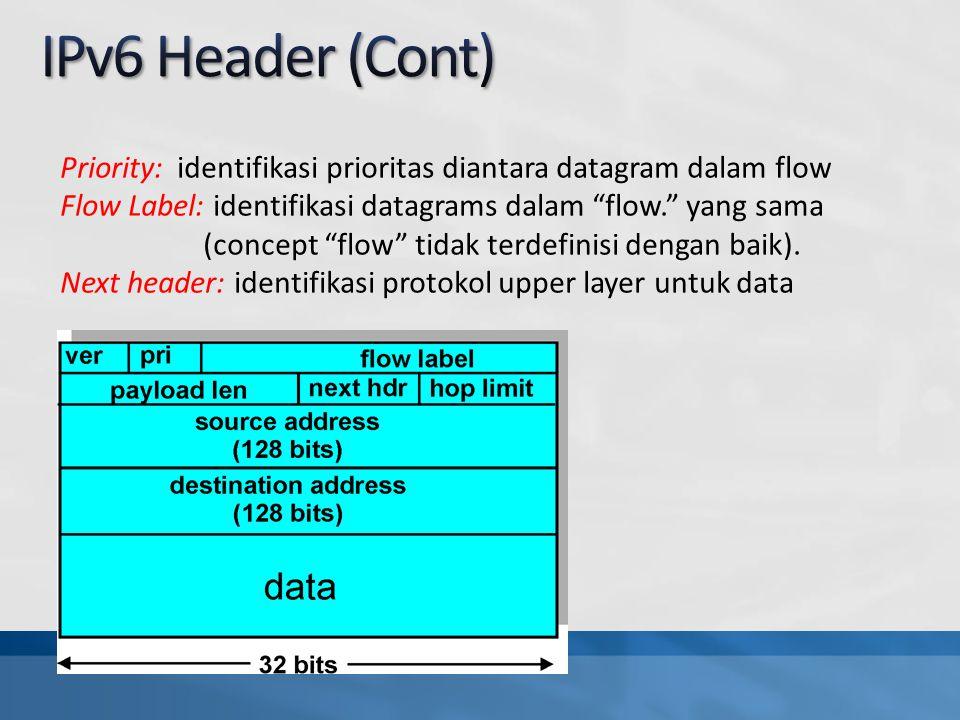 Priority: identifikasi prioritas diantara datagram dalam flow Flow Label: identifikasi datagrams dalam flow. yang sama (concept flow tidak terdefinisi dengan baik).