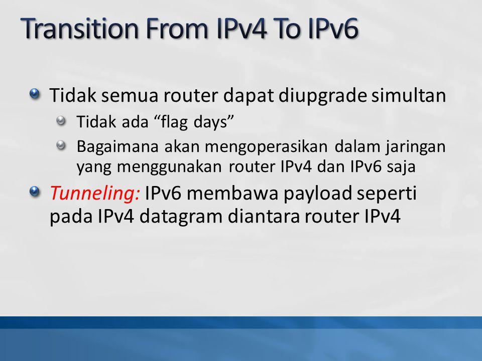 Tidak semua router dapat diupgrade simultan Tidak ada flag days Bagaimana akan mengoperasikan dalam jaringan yang menggunakan router IPv4 dan IPv6 saja Tunneling: IPv6 membawa payload seperti pada IPv4 datagram diantara router IPv4