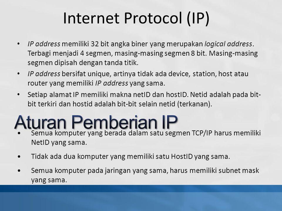 Semua komputer yang berada dalam satu segmen TCP/IP harus memiliki NetID yang sama.