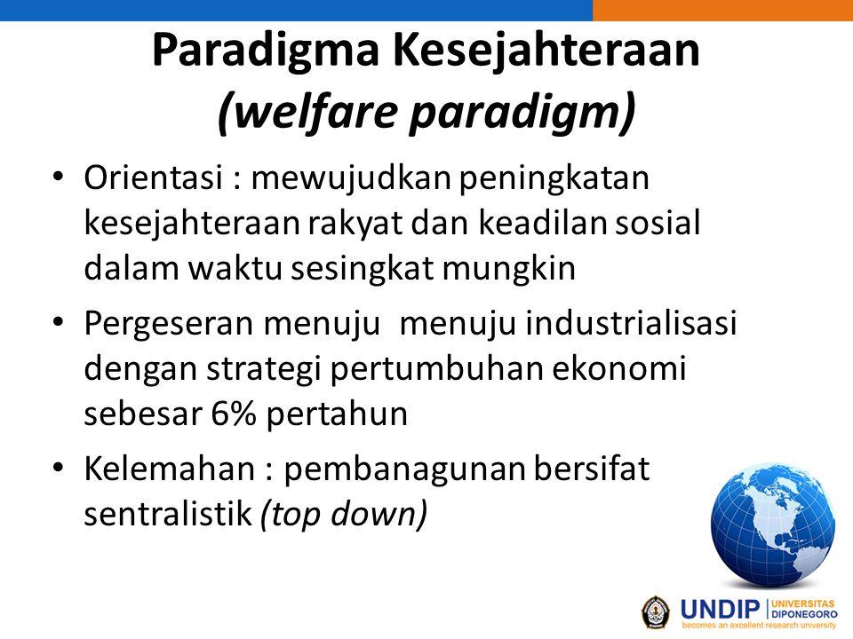 Paradigma Kesejahteraan (welfare paradigm) Orientasi : mewujudkan peningkatan kesejahteraan rakyat dan keadilan sosial dalam waktu sesingkat mungkin Pergeseran menuju menuju industrialisasi dengan strategi pertumbuhan ekonomi sebesar 6% pertahun Kelemahan : pembanagunan bersifat sentralistik (top down)