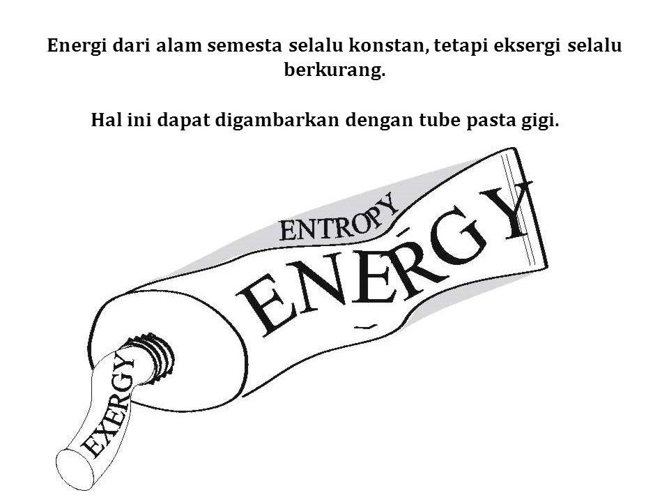 Energi dari alam semesta selalu konstan, tetapi eksergi selalu berkurang.