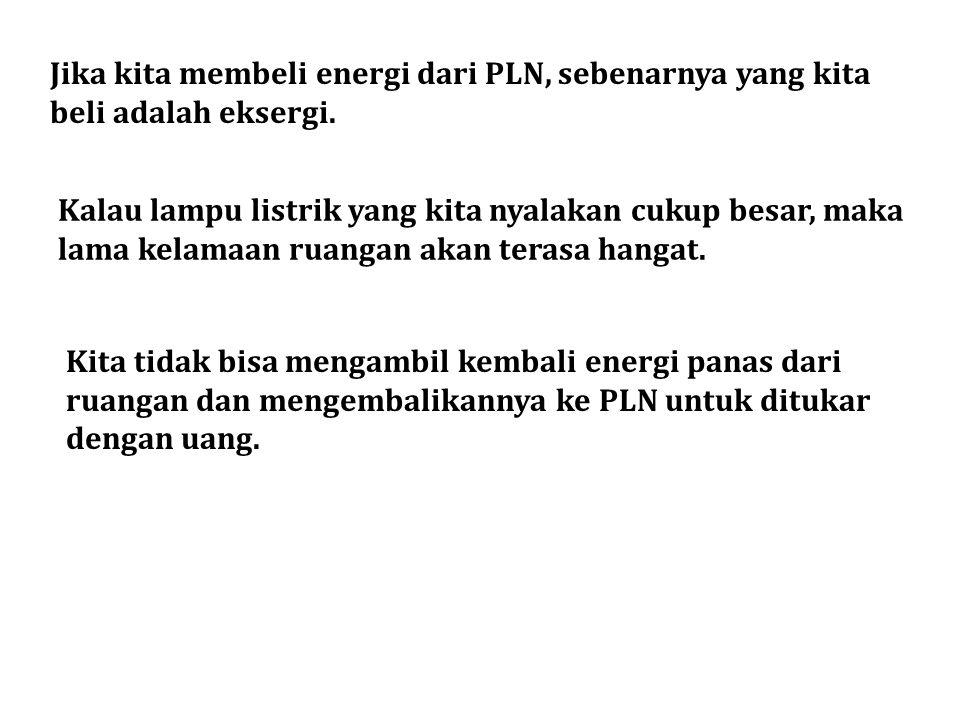 Jika kita membeli energi dari PLN, sebenarnya yang kita beli adalah eksergi.