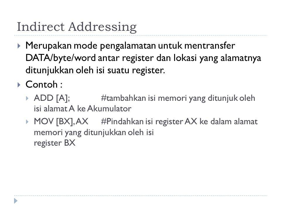 Indirect Addressing  Merupakan mode pengalamatan untuk mentransfer DATA/byte/word antar register dan lokasi yang alamatnya ditunjukkan oleh isi suatu register.