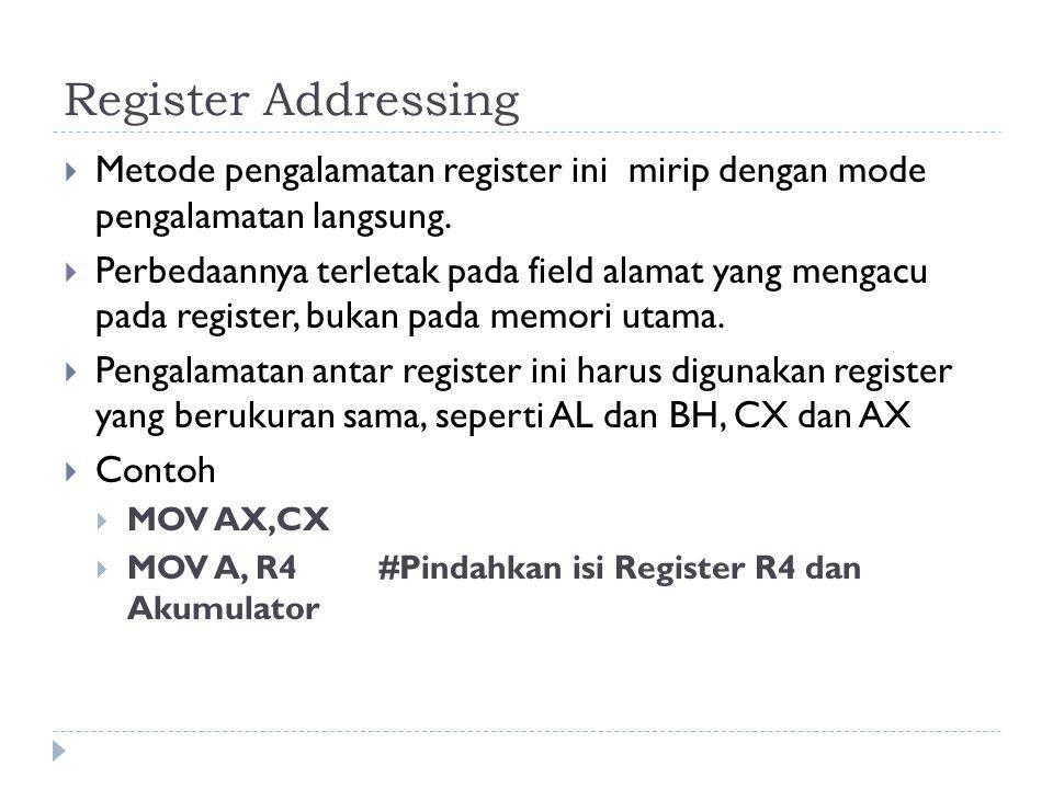 Register Addressing  Metode pengalamatan register ini mirip dengan mode pengalamatan langsung.