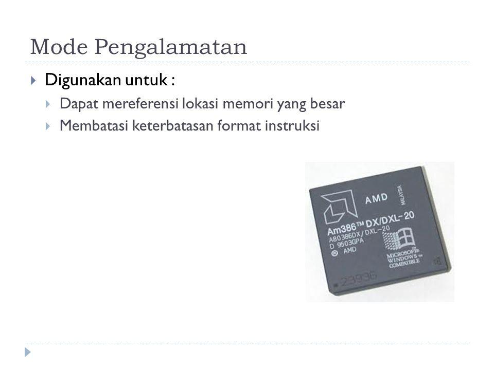 Mode Pengalamatan  Digunakan untuk :  Dapat mereferensi lokasi memori yang besar  Membatasi keterbatasan format instruksi