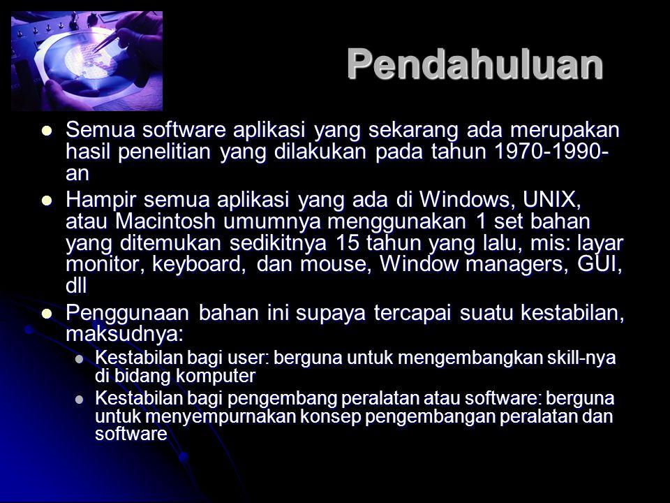 Pendahuluan Semua software aplikasi yang sekarang ada merupakan hasil penelitian yang dilakukan pada tahun 1970-1990- an Semua software aplikasi yang