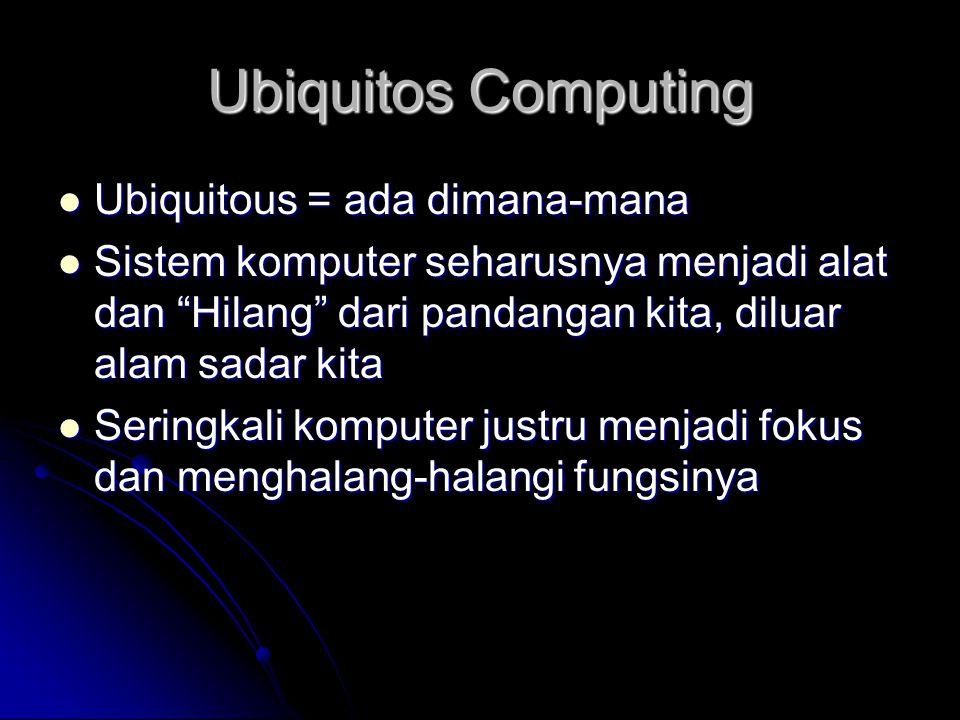 """Ubiquitos Computing Ubiquitous = ada dimana-mana Ubiquitous = ada dimana-mana Sistem komputer seharusnya menjadi alat dan """"Hilang"""" dari pandangan kita"""