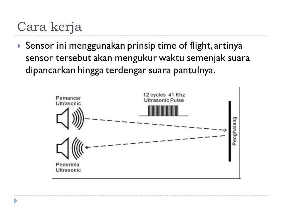 Cara kerja  Sensor ini menggunakan prinsip time of flight, artinya sensor tersebut akan mengukur waktu semenjak suara dipancarkan hingga terdengar suara pantulnya.