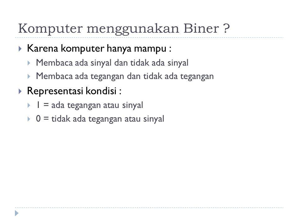 Komputer menggunakan Biner ?  Karena komputer hanya mampu :  Membaca ada sinyal dan tidak ada sinyal  Membaca ada tegangan dan tidak ada tegangan 