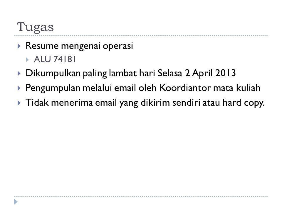 Tugas  Resume mengenai operasi  ALU 74181  Dikumpulkan paling lambat hari Selasa 2 April 2013  Pengumpulan melalui email oleh Koordiantor mata kul