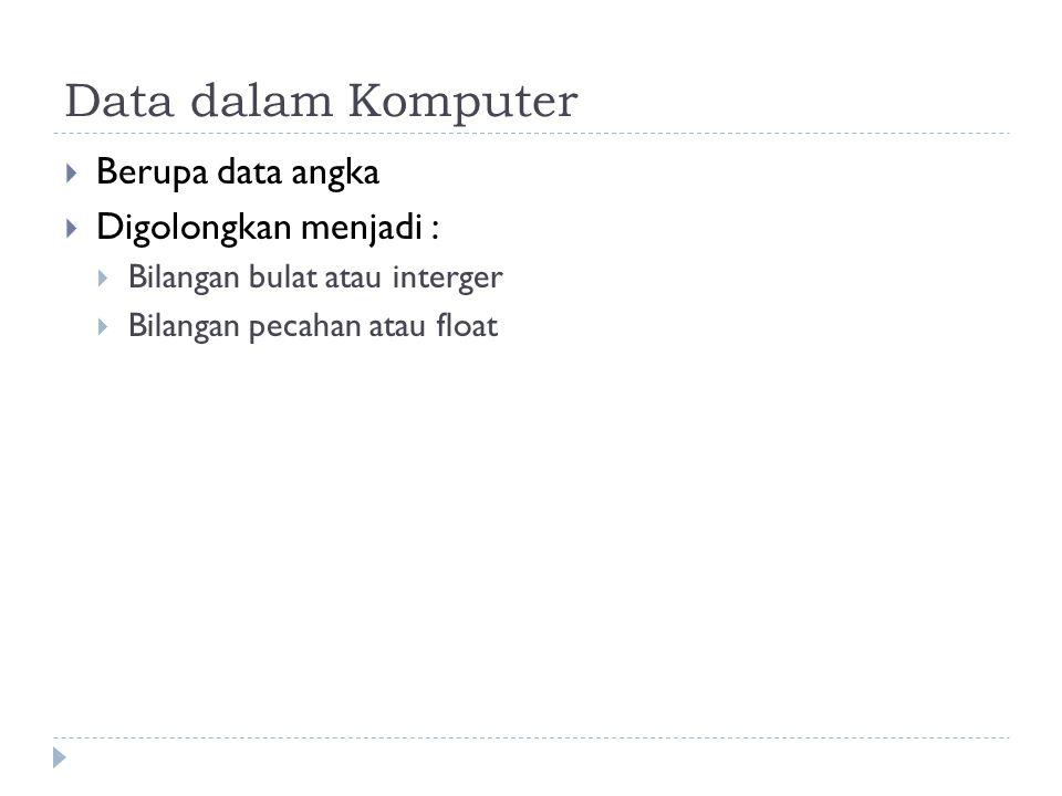 Data dalam Komputer  Berupa data angka  Digolongkan menjadi :  Bilangan bulat atau interger  Bilangan pecahan atau float