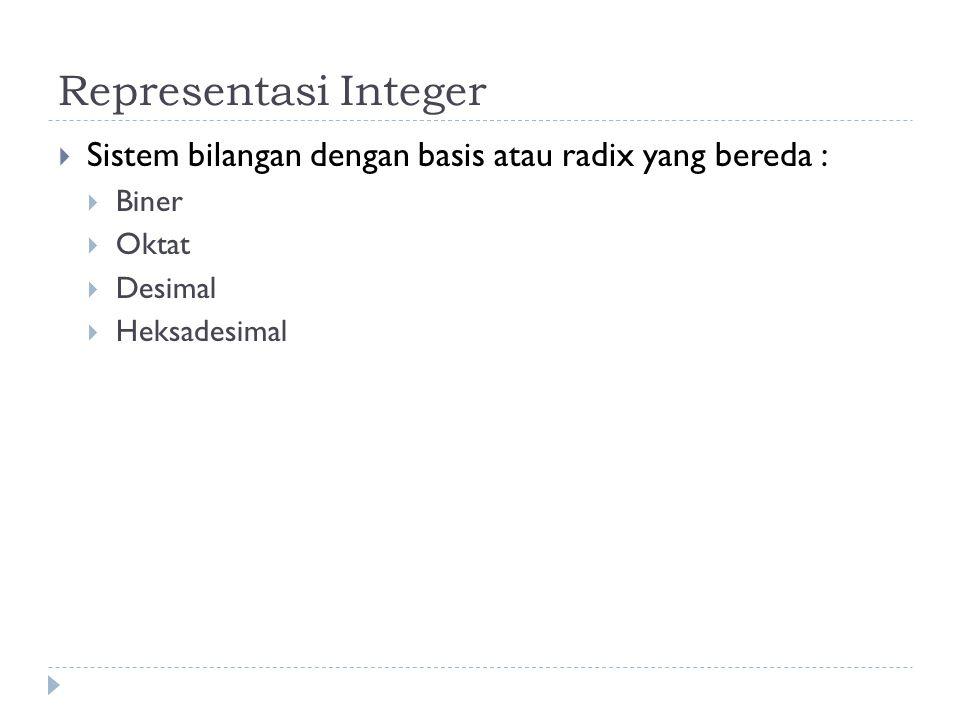 Representasi Integer  Sistem bilangan dengan basis atau radix yang bereda :  Biner  Oktat  Desimal  Heksadesimal