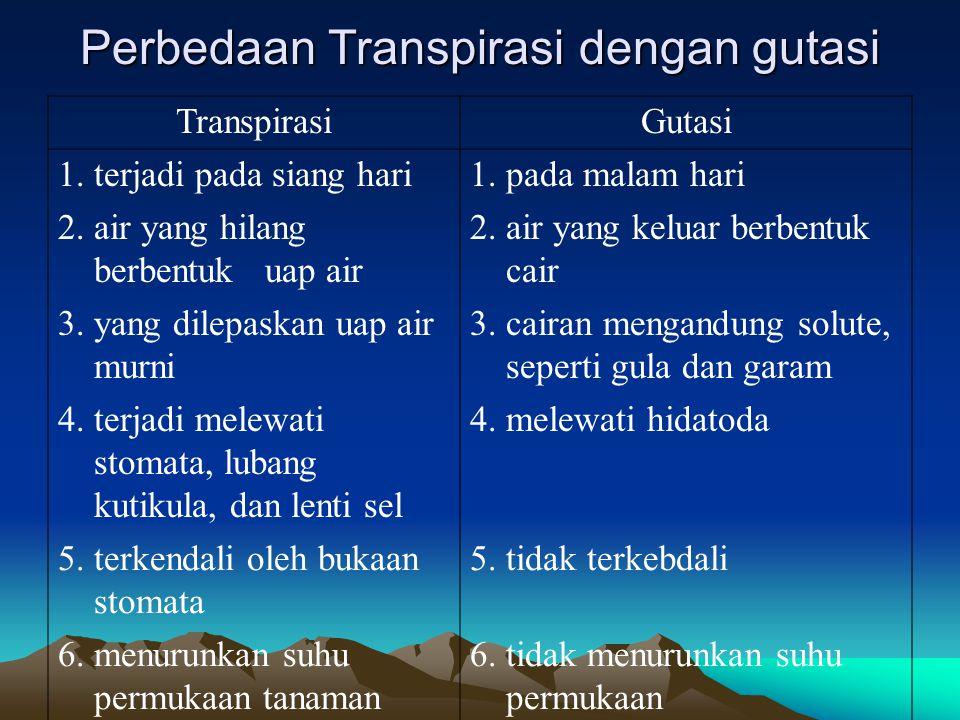 Perbedaan Transpirasi dengan gutasi TranspirasiGutasi 1. terjadi pada siang hari1. pada malam hari 2. air yang hilang berbentuk uap air 2. air yang ke