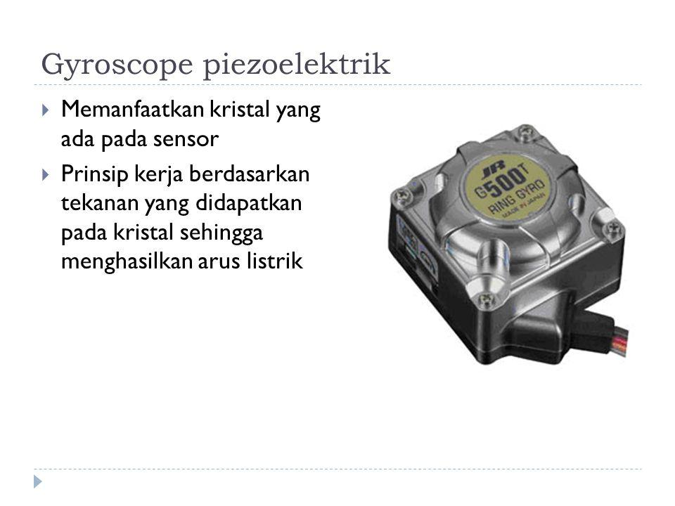 Gyroscope piezoelektrik  Memanfaatkan kristal yang ada pada sensor  Prinsip kerja berdasarkan tekanan yang didapatkan pada kristal sehingga menghasi