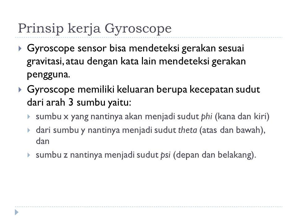 Prinsip kerja Gyroscope  Gyroscope sensor bisa mendeteksi gerakan sesuai gravitasi, atau dengan kata lain mendeteksi gerakan pengguna.  Gyroscope me