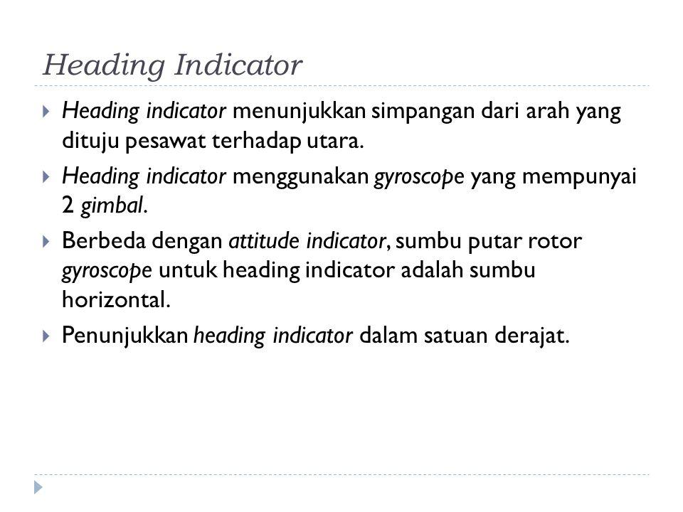 Heading Indicator  Heading indicator menunjukkan simpangan dari arah yang dituju pesawat terhadap utara.  Heading indicator menggunakan gyroscope ya