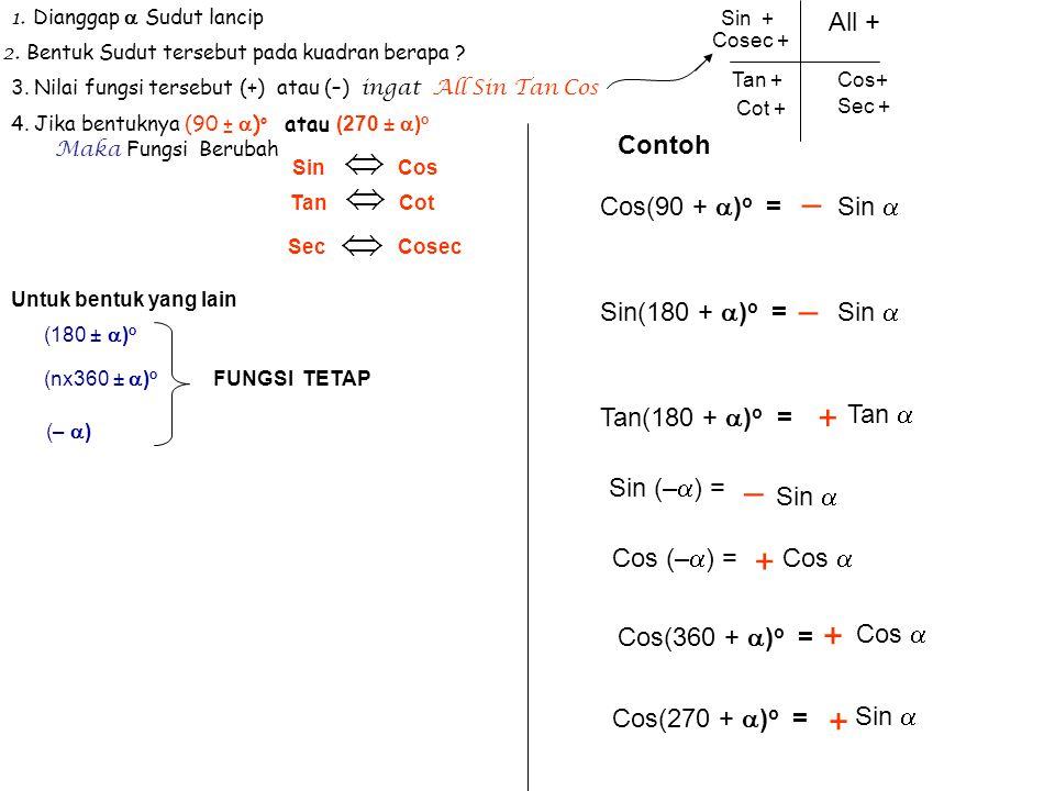 1. Dianggap  Sudut lancip 2. Bentuk Sudut tersebut pada kuadran berapa ? 3. Nilai fungsi tersebut (+) atau (–) i ngat All Sin Tan Cos 4. Jika bentukn