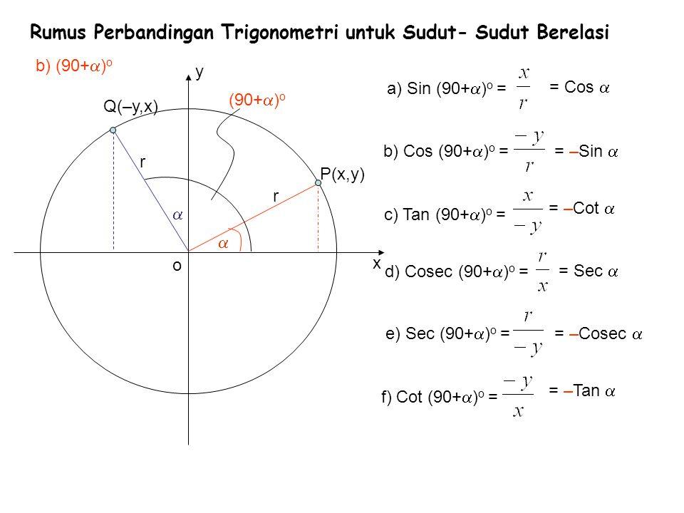Rumus Perbandingan Trigonometri untuk Sudut- Sudut Berelasi x y b) (90+  ) o r o  Q(–y,x) = Cos  = –Sin  = –Cot  = Sec  = –Cosec  = –Tan   P(