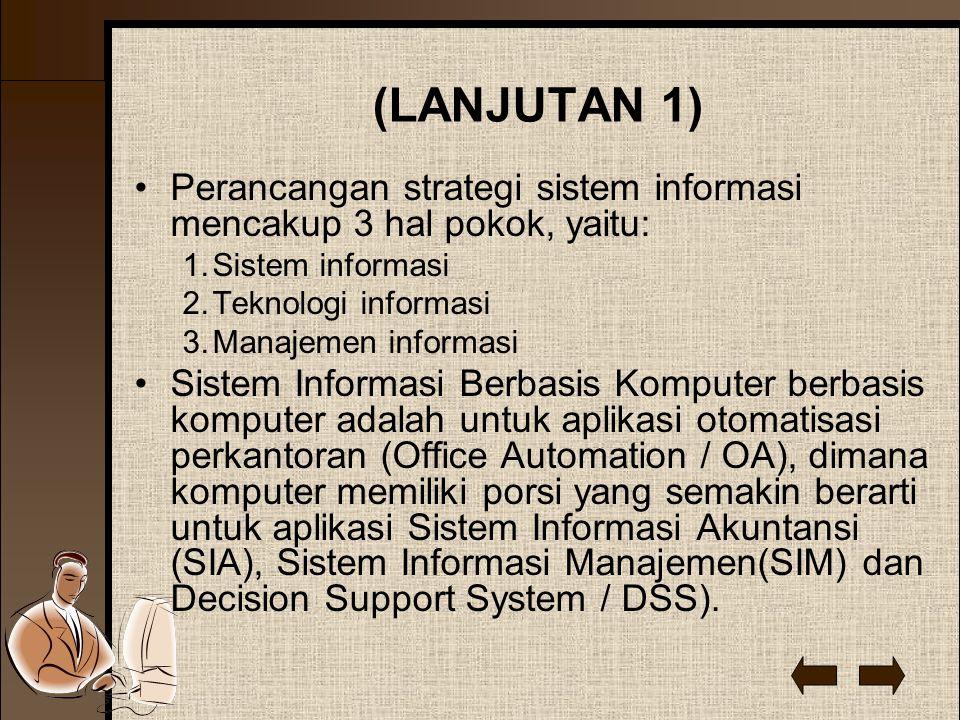 (LANJUTAN 1) Perancangan strategi sistem informasi mencakup 3 hal pokok, yaitu: 1.Sistem informasi 2.Teknologi informasi 3.Manajemen informasi Sistem