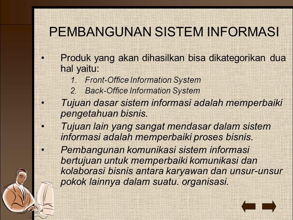 PEMBANGUNAN SISTEM INFORMASI Produk yang akan dihasilkan bisa dikategorikan dua hal yaitu: 1.Front-Office Information System 2.Back-Office Information