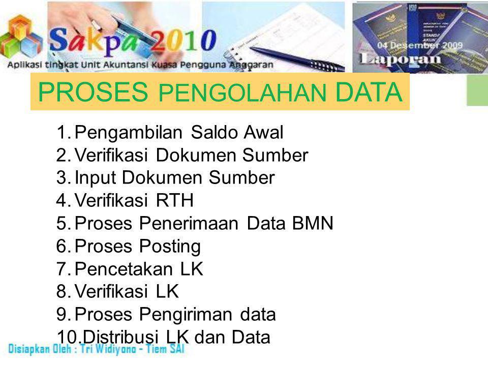 PROSES PENGOLAHAN DATA 1.Pengambilan Saldo Awal 2.Verifikasi Dokumen Sumber 3.Input Dokumen Sumber 4.Verifikasi RTH 5.Proses Penerimaan Data BMN 6.Proses Posting 7.Pencetakan LK 8.Verifikasi LK 9.Proses Pengiriman data 10.Distribusi LK dan Data