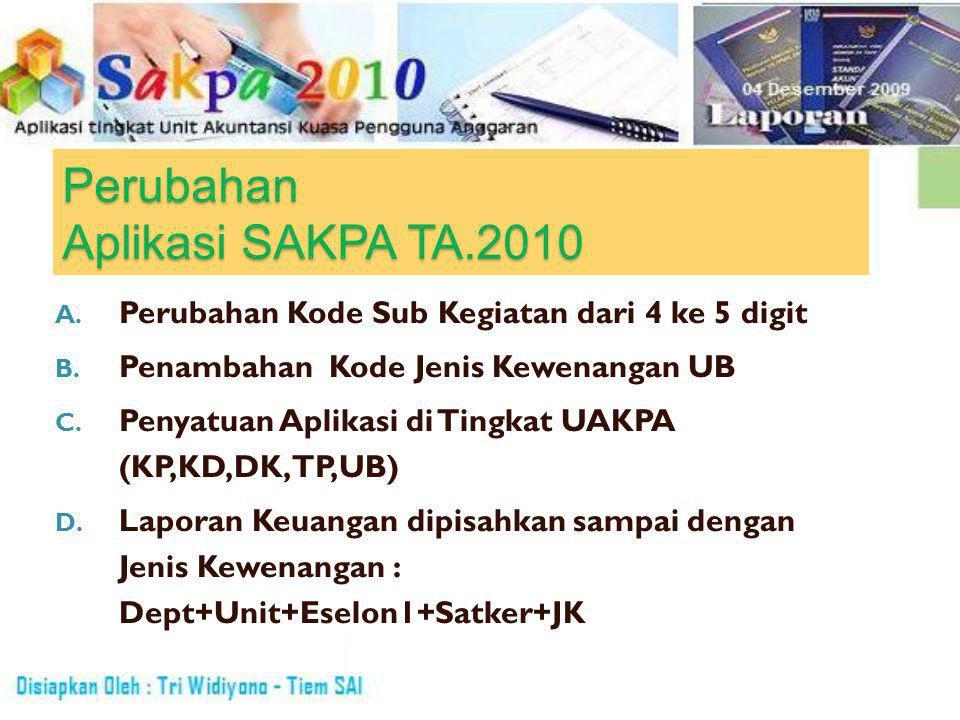 Perubahan Aplikasi SAKPA TA.2010 A. Perubahan Kode Sub Kegiatan dari 4 ke 5 digit B.
