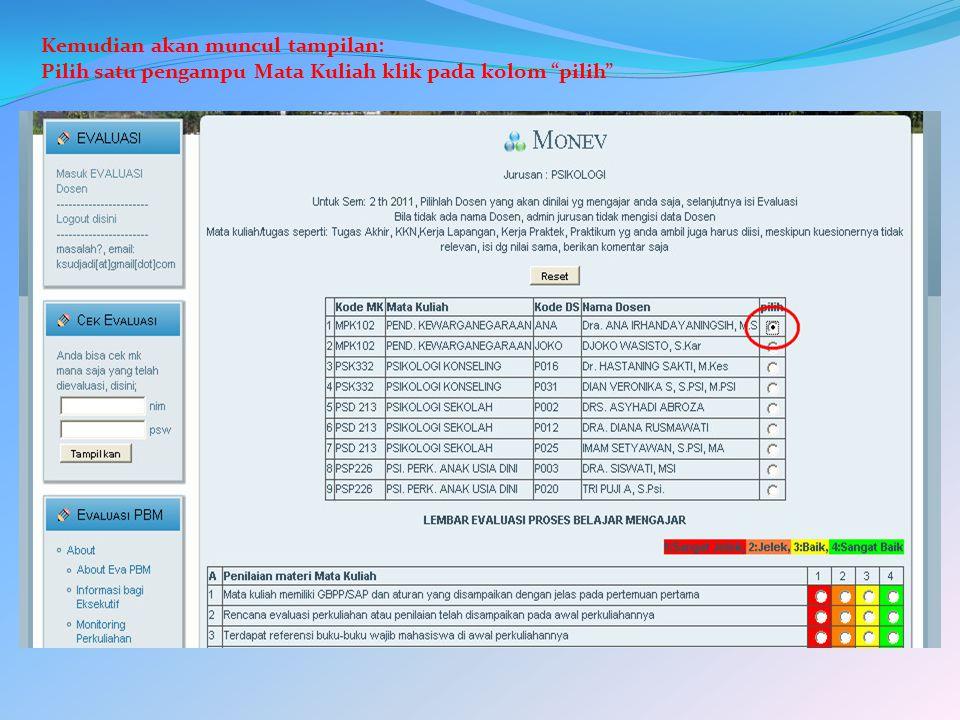 Kemudian akan muncul tampilan: Pilih satu pengampu Mata Kuliah klik pada kolom pilih