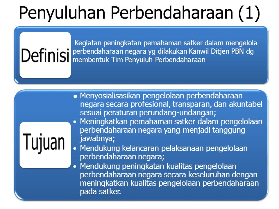 Penyuluhan Perbendaharaan (1) Kegiatan peningkatan pemahaman satker dalam mengelola perbendaharaan negara yg dilakukan Kanwil Ditjen PBN dg membentuk Tim Penyuluh Perbendaharaan ● Menyosialisasikan pengelolaan perbendaharaan negara secara profesional, transparan, dan akuntabel sesuai peraturan perundang-undangan; Meningkatkan pemahaman satker dalam pengelolaan perbendaharaan negara yang menjadi tanggung jawabnya; Mendukung kelancaran pelaksanaan pengelolaan perbendaharaan negara; Mendukung peningkatan kualitas pengelolaan perbendaharaan negara secara keseluruhan dengan meningkatkan kualitas pengelolaan perbendaharaan pada satker.