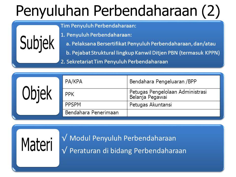 Rencana & Jadwal Kegiatan Penyuluhan Perbendaharaan Dasar pelaksanaan kegiatan Penyuluhan Berisi kegiatan penyuluhan yang akan dilaksanakan Tim PP, indikator hasil yg akan dicapai, alokasi dana yg dibutuhkan, jadwal dlm 1 Tahun Anggaran