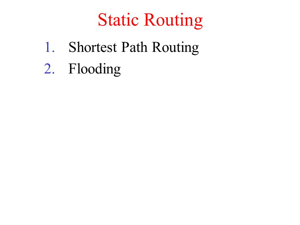 Static Routing 1.Shortest Path Routing 2.Flooding