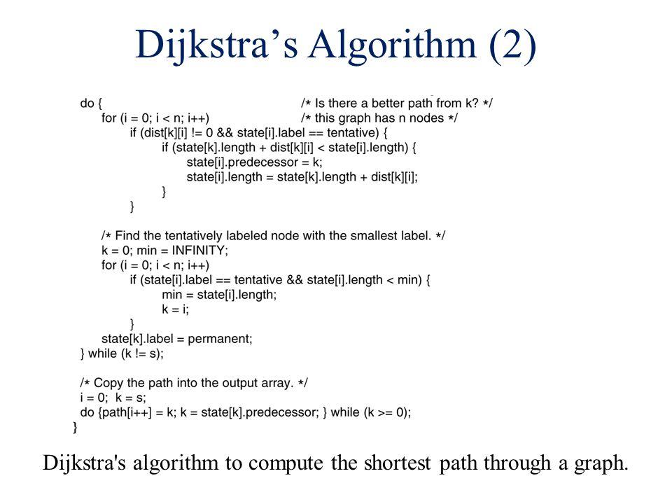 Dijkstra's Algorithm (2) Dijkstra s algorithm to compute the shortest path through a graph.