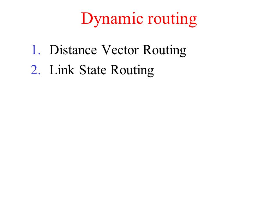 Dynamic routing 1.Distance Vector Routing 2.Link State Routing