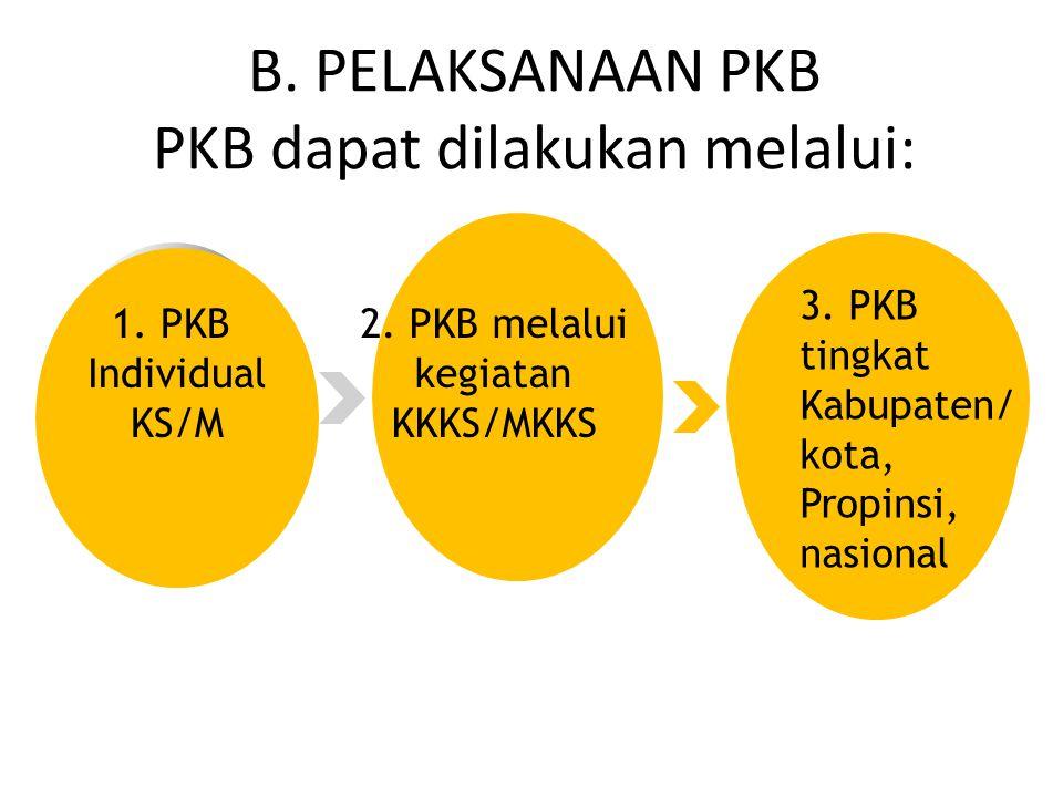 1.PKB Individual KS/M 2. PKB melalui kegiatan KKKS/MKKS 3.