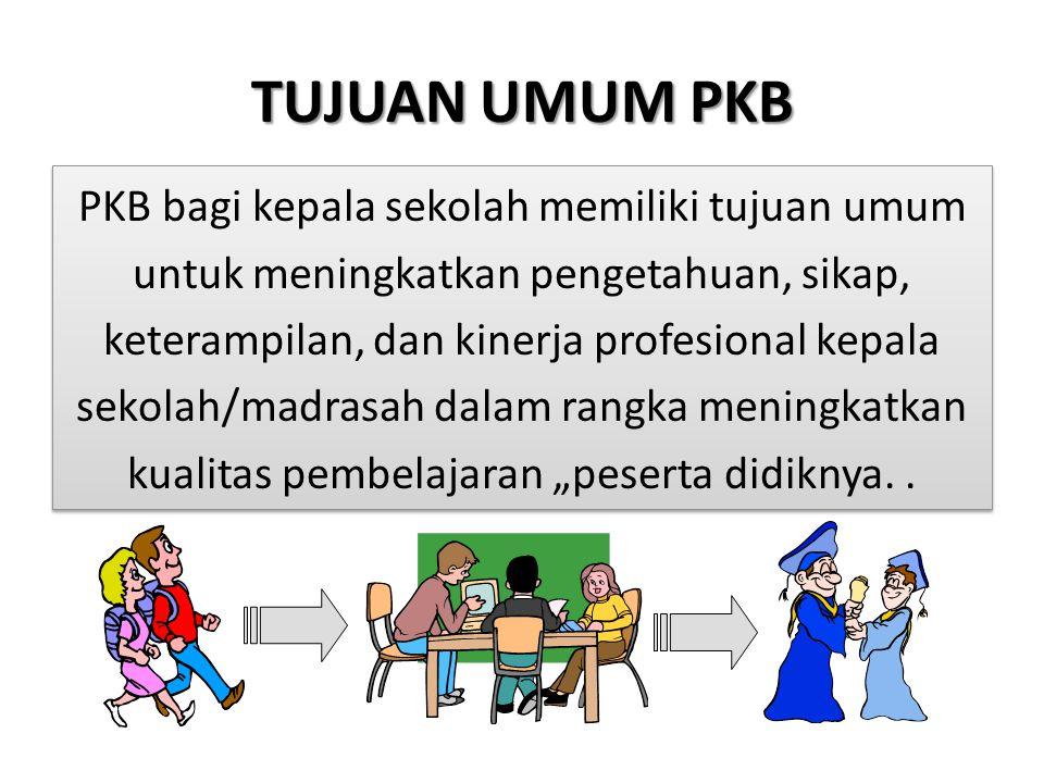 """TUJUAN UMUM PKB PKB bagi kepala sekolah memiliki tujuan umum untuk meningkatkan pengetahuan, sikap, keterampilan, dan kinerja profesional kepala sekolah/madrasah dalam rangka meningkatkan kualitas pembelajaran """"peserta didiknya.."""
