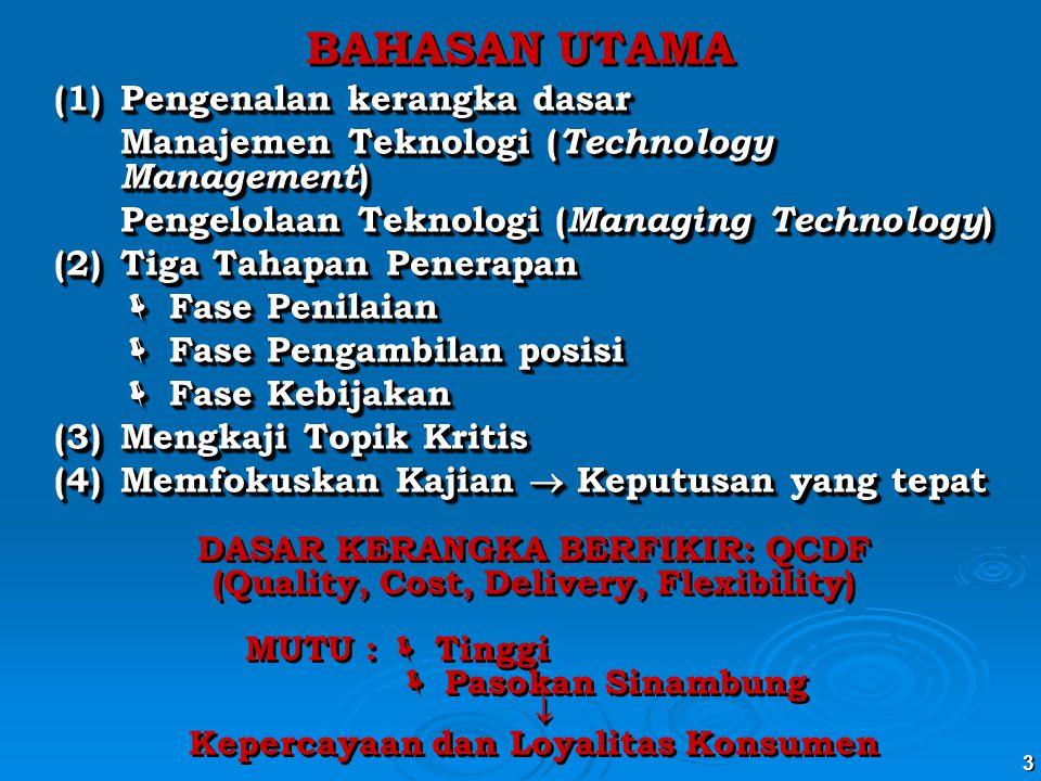 3 BAHASAN UTAMA (1) Pengenalan kerangka dasar Manajemen Teknologi ( Technology Management ) Pengelolaan Teknologi ( Managing Technology ) (2)Tiga Taha
