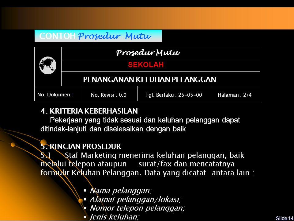 Slide 13 CONTOH Prosedur Mutu Prosedur Mutu SEKOLAH PENANGANAN KELUHAN PELANGGAN No.