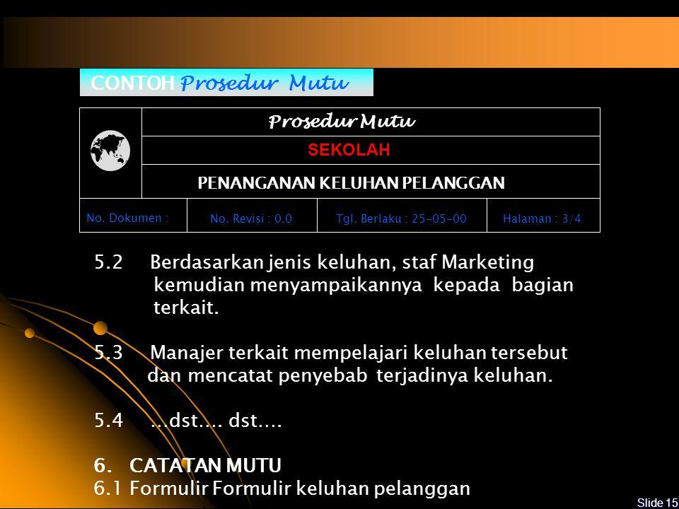 Slide 14 CONTOH Prosedur Mutu Prosedur Mutu SEKOLAH PENANGANAN KELUHAN PELANGGAN No.