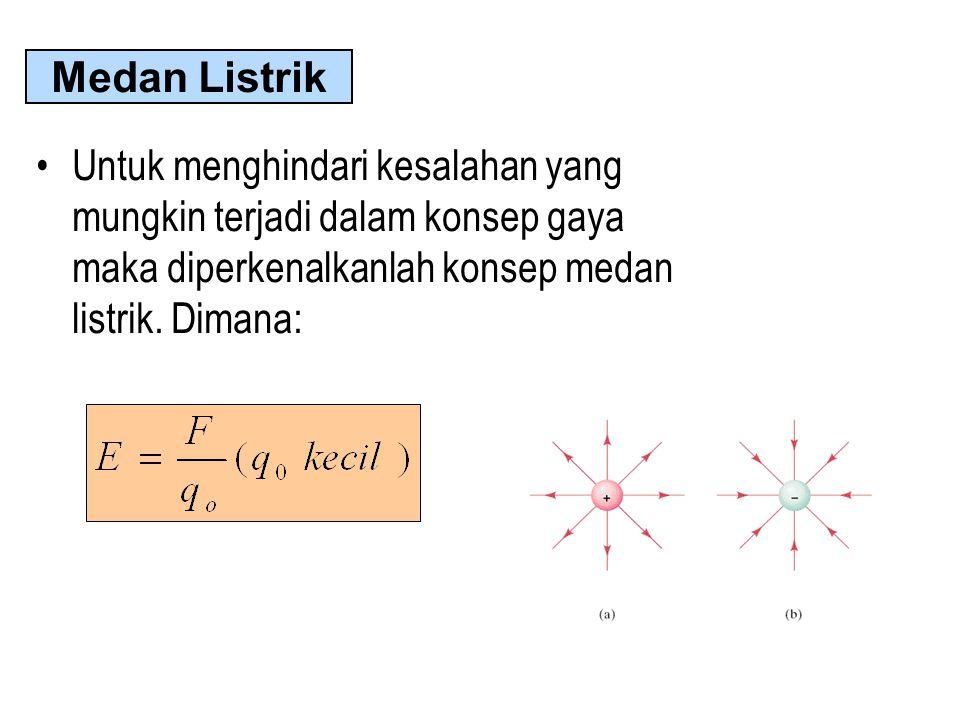 Untuk menghindari kesalahan yang mungkin terjadi dalam konsep gaya maka diperkenalkanlah konsep medan listrik.