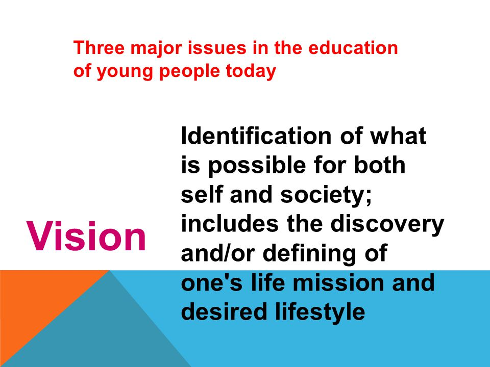 Three major issues in the education of young people today Competence Development of the knowledge, values, attitudes, and skills necessary for success in a given society or culture