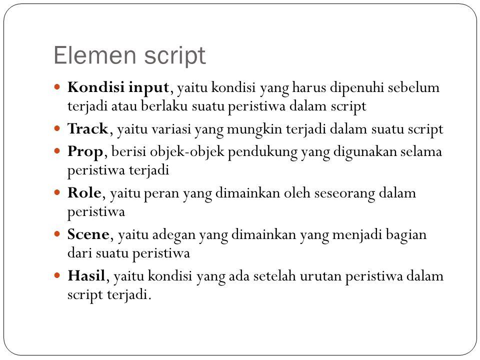Elemen script Kondisi input, yaitu kondisi yang harus dipenuhi sebelum terjadi atau berlaku suatu peristiwa dalam script Track, yaitu variasi yang mun