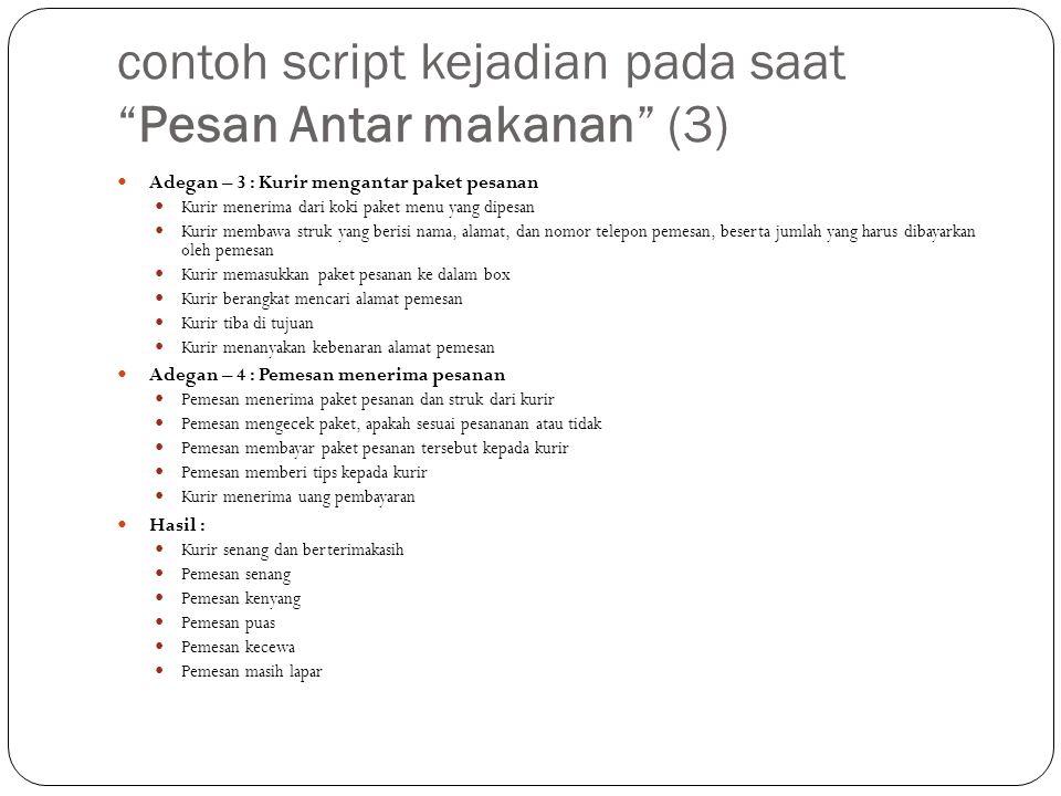 """contoh script kejadian pada saat """"Pesan Antar makanan"""" (3) Adegan – 3 : Kurir mengantar paket pesanan Kurir menerima dari koki paket menu yang dipesan"""