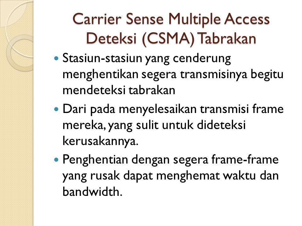 Carrier Sense Multiple Access Deteksi (CSMA) Tabrakan Stasiun-stasiun yang cenderung menghentikan segera transmisinya begitu mendeteksi tabrakan Dari