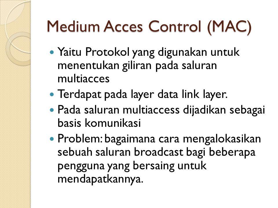 Medium Acces Control (MAC) Yaitu Protokol yang digunakan untuk menentukan giliran pada saluran multiacces Terdapat pada layer data link layer. Pada sa