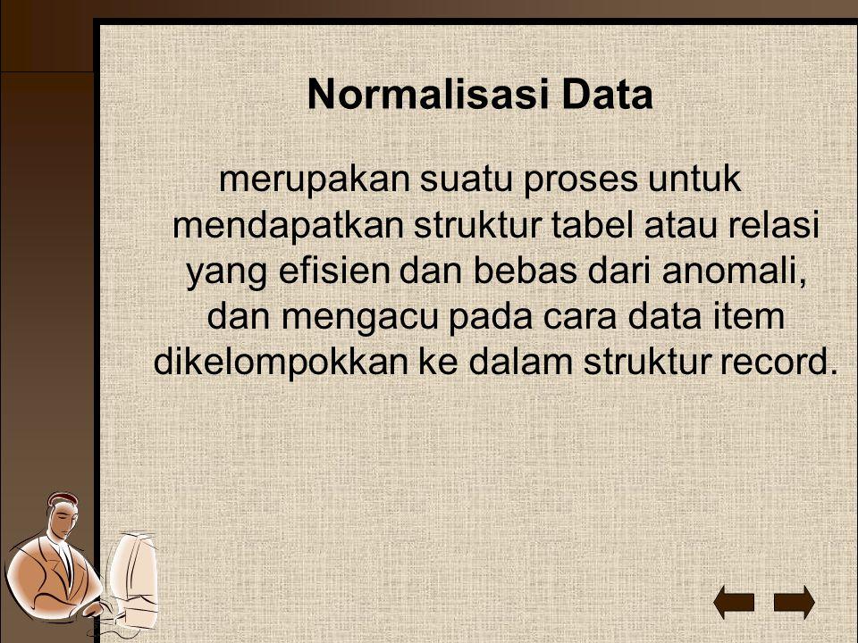 Normalisasi Data merupakan suatu proses untuk mendapatkan struktur tabel atau relasi yang efisien dan bebas dari anomali, dan mengacu pada cara data item dikelompokkan ke dalam struktur record.