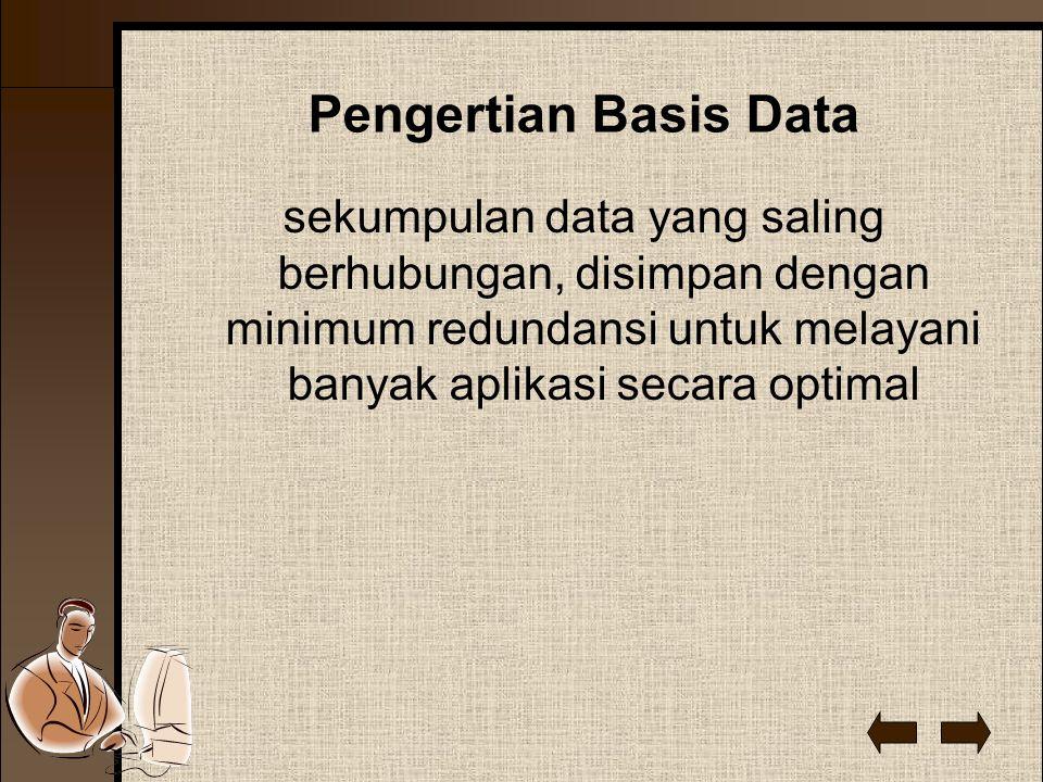 Pengertian Basis Data sekumpulan data yang saling berhubungan, disimpan dengan minimum redundansi untuk melayani banyak aplikasi secara optimal