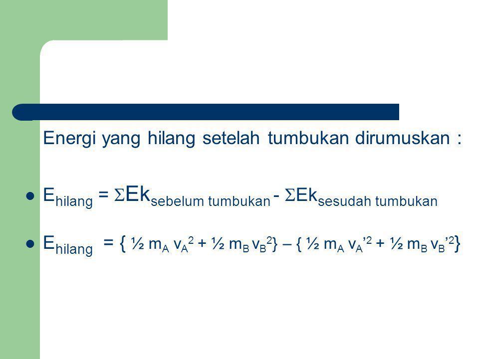 Tumbukan yang terjadi jika bola dijatuhkan dari ketinggian h meter dari atas lantai: Kecepatan bola waktu menumbuk lantai dapat dicari dengan persamaan : vA = Kecepatan lantai sebelum dan sesudah tumbukan adalah 0, sehingga ditulis: v B = v B ' = 0 Dengan memasukkan persamaan tumbukan elstis sebagian :