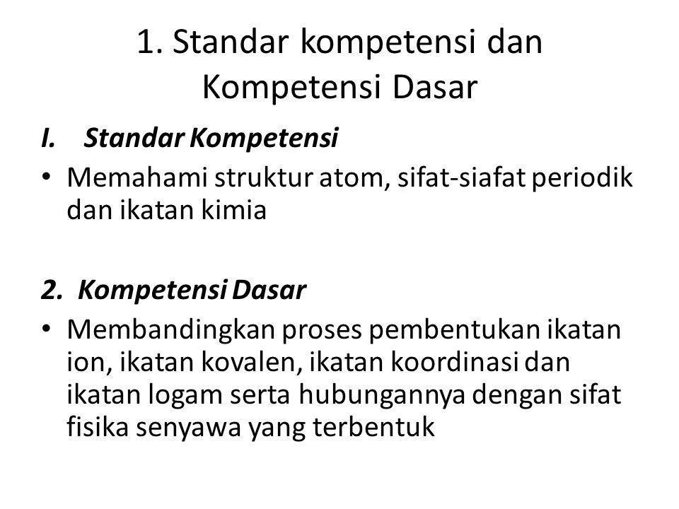 1. Standar kompetensi dan Kompetensi Dasar I. Standar Kompetensi Memahami struktur atom, sifat-siafat periodik dan ikatan kimia 2. Kompetensi Dasar Me