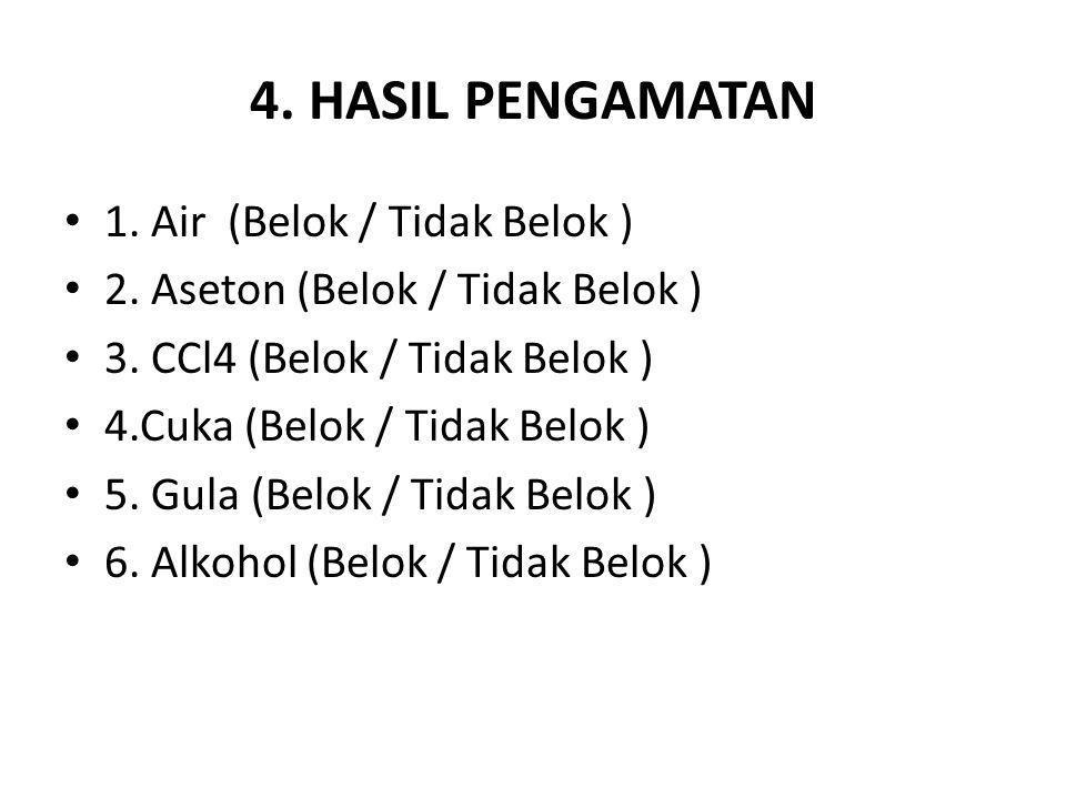 4. HASIL PENGAMATAN 1. Air (Belok / Tidak Belok ) 2. Aseton (Belok / Tidak Belok ) 3. CCl4 (Belok / Tidak Belok ) 4.Cuka (Belok / Tidak Belok ) 5. Gul